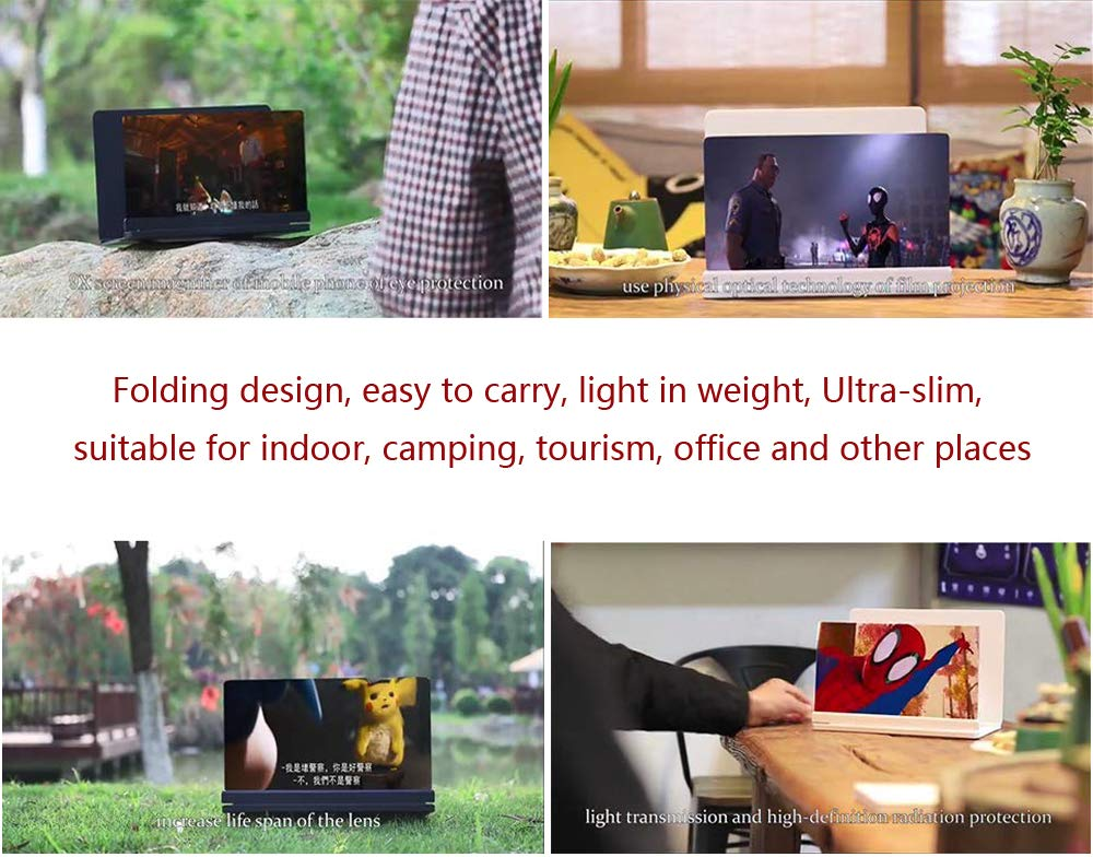 3D Phone Screen Magnifier HD Smart Phone Screen Enlarger Movie Amplifier Projector Foldable Cell Phone Holder Stand for iPhone Samsung Galaxy S7 and All Other Mobile Phones