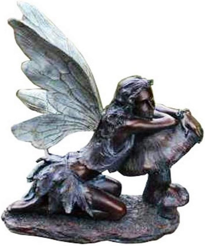 "Fairy on Mushroom Bronze Finish 17"" Resin Stone Garden Statue Figurine"
