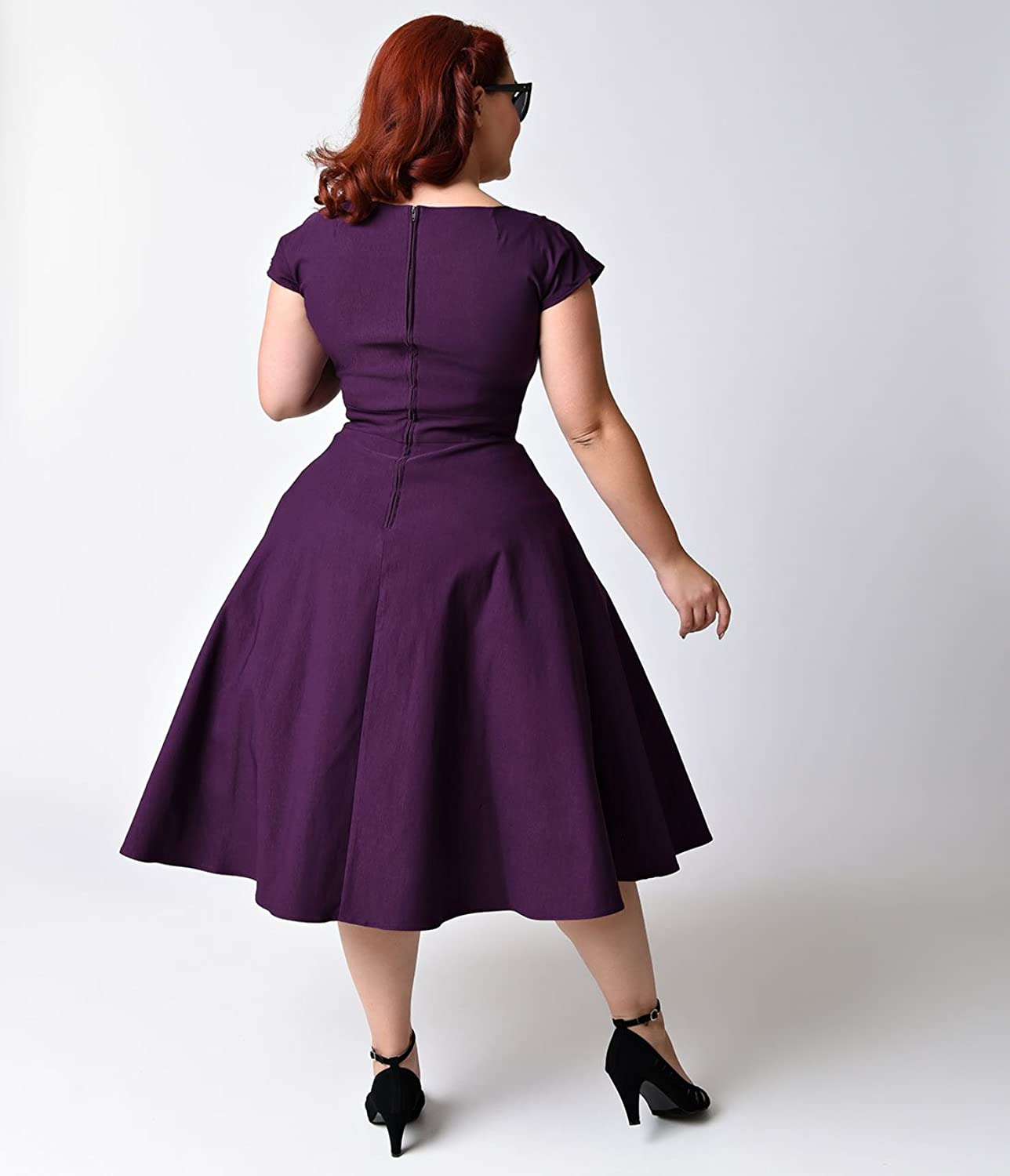 Stop Staring! Plus Size Mad Style Eggplant Cap Sleeve Swing Dress at ...