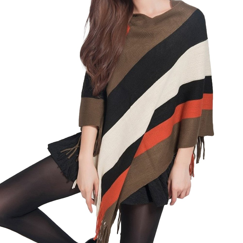 Women Striped Tassel Loose Tops Shawl Cape Wrap Poncho Knitted Scarf Cloak Coat (One Size, 03)