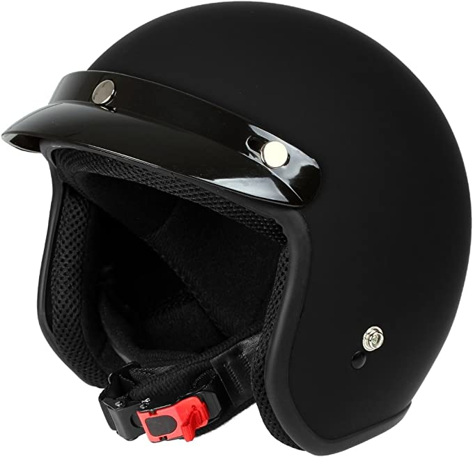 Mach1 Jethelm Motorradhelm Schwarz Matt Ece R 22 05 Roller Scooter Helm Größe Xs Bis Xxl Abnehmbarer Schirm Bekleidung