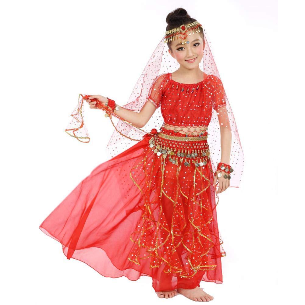 Costume da Danza del Ventre per Bambini Set Vestito da Danza Indiana con Vestito Lungo con Velo a Testa Costume da Danza del Ventre della Ragazza