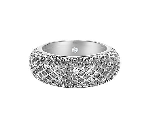 Esprit Damen-Ring 925 Sterling Silber rhodiniert Glas Zirkonia Lattice Pure weiß Gr.57 (18.1) S.ESRG91914A180
