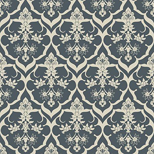 Repeel RP432 Removable Wallpaper, Damask Navy and Cream