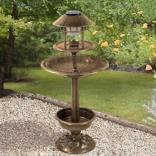 Beyondfashion 4 in 1 Bird Bath Garden Bird Feeder with Flower Planter&Solar Light