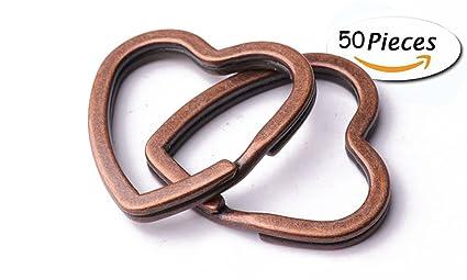 Llavero de corazón con llavero de cobre dividido, llavero de ...