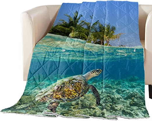 Amazon Com Charmhome Summer Thin Bedspread Underwater Scuba Diving Sea Turtle Nature Swimming Wildlife Theme Ultra Soft All Season Lightweight Stitched Bedding Quilt Blanket 88 X 88 Home Kitchen