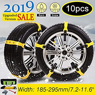Besteamer Snow Chains Car Anti Slip Tire Chains Adjustable Anti-Skid Chains Car Tire Snow Chains Fits for Most Car/SUV/Truck-Set of 10 Width 185-295mm/7.2-11.6'' (Snow Chains): Automotive