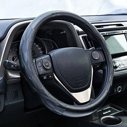 [해외]범용 자동차 정품 가죽 조향 휠 커버 (2 크기), 안티 - 슬립, 무취, 내구성, 자동차 인테리어에 대한 심장 - 모양의 패턴과 블랙/Universal Car Genuine Leather Steering Wheel