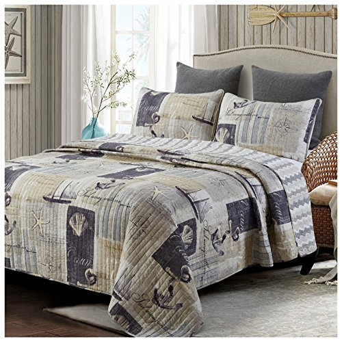 Compass Quilt (Sail Away Reversible Quilt Set, Classic Nautical Pattern, 3-Piece Set with Quilt and Pillow Shams - Full/Queen, Sail Away)