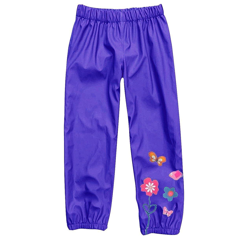 Kids Baby Girls Waterproof Rain Pants Floral Print Outdoors Rainwear Warm 1-5 Years
