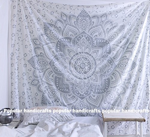 Popular Handicrafts Kp756 The Passion Silver Ombre Tapestry Wall hanging Indian Mandala Wall Art, Hippie Wall Hanging, Bohemian tapestries (215x230cms) Silver on White