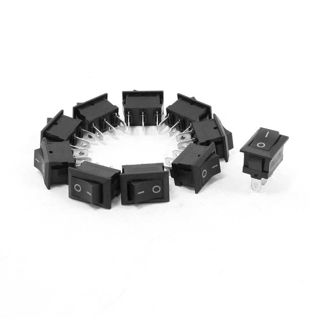 10 piezas de AC 250V 6A a 125V 10A 3 Pin Botó n Negro SPDT interruptor basculante DealMux