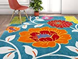 Well Woven Modern Rug Daisy Flowers Blue 5'X7′ Floral Accent Area Rug Entry Way Bright Kids Room Kitchen Bedroom Carpet Bathroom Soft Durable Area Rug For Sale