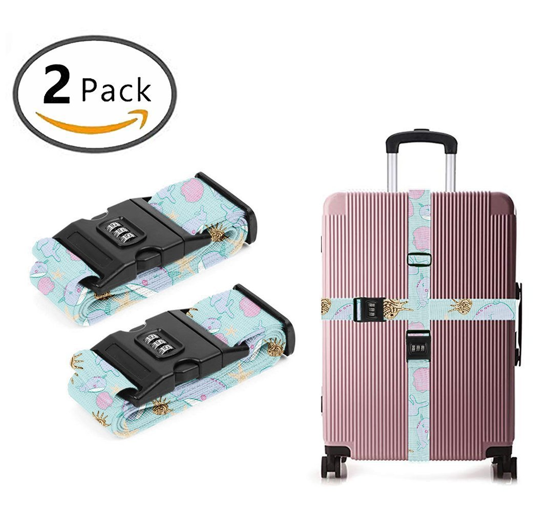 YEAHSPACE Sea Unicorn - Narwhal Heavy Duty Luggage Strap For Suitcase Travel TSA Approved Lock 2-PC Set