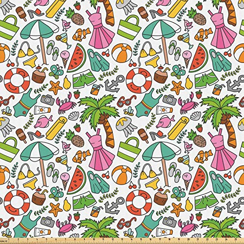 Lunarable Beach Fabric by The Yard, Summer Butterfly Swimsuit Lifebuoy Cocktail Anchor Fish Camera Holiday Kids Doodle, Microfiber Fabric for Arts and Crafts Textiles & Decor, 2 Yards, Multicolor