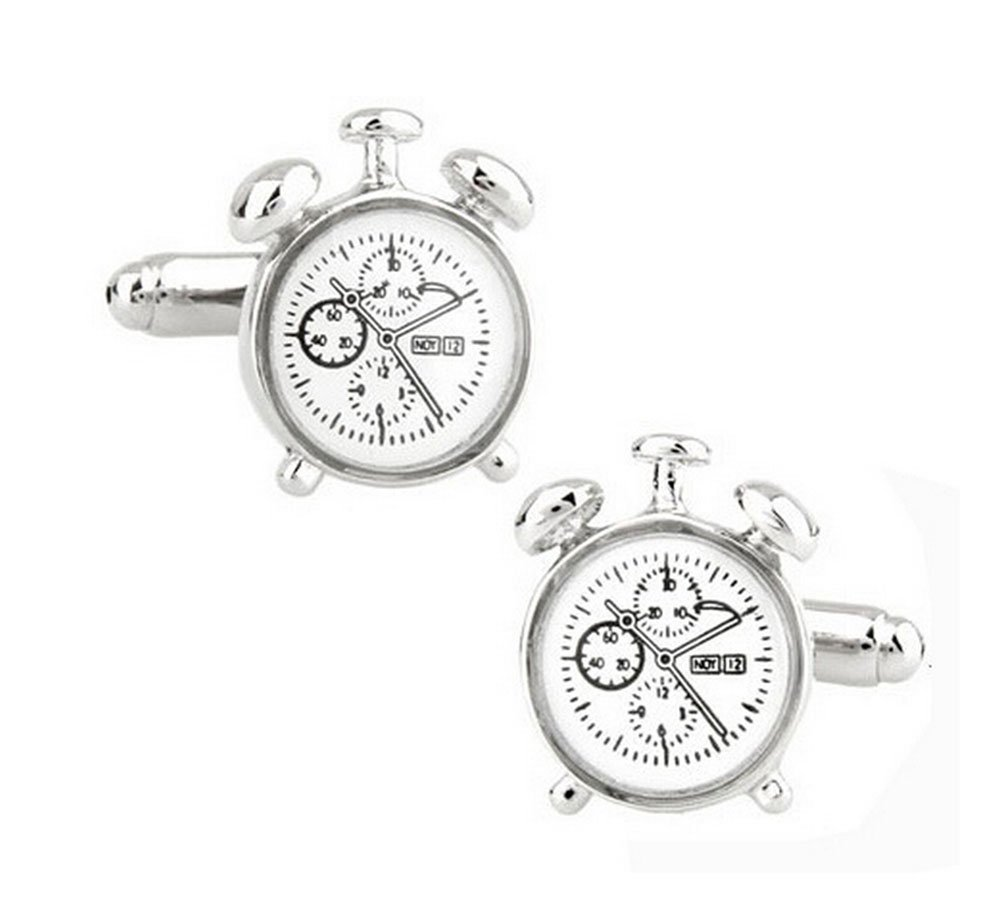 Hosaire Cufflinks Men's Personality Silver Alarm Clock Cuff Link Delicate Cuff-link for Wedding Party