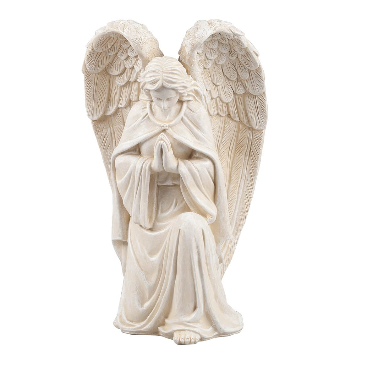 Fox Valley Traders WalterDrake White Resin Angel Statue - Religious Garden Statue Remembrance Memorial Guardian Angel - 16 inch