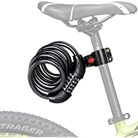 SIPRDE Bike Lock Cable, High Security 5 Digit Resettable Combination Coiling for Bike and Scooter Lock Heavy Duty Anti…