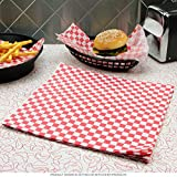 240 Sheets - TrueCraftware Red Checkered Deli Basket Liners / Greaseproof Paper - 12 x 12''