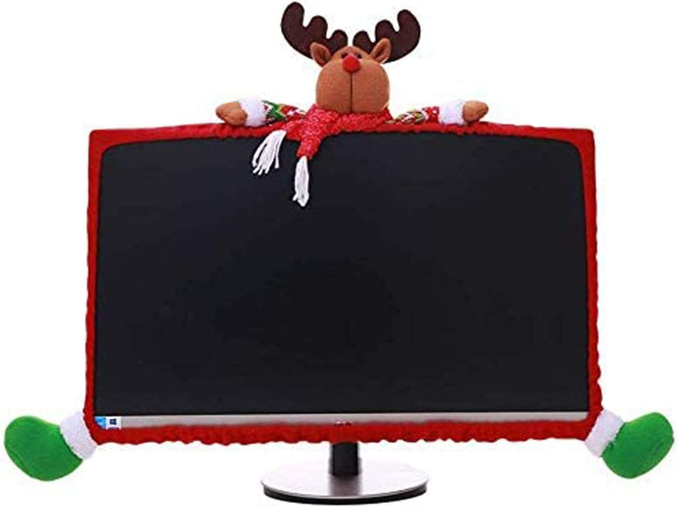 Gugou Computer Monitor Cover, Elastic Computer Cover Christmas Decorations for Home Office Decor and New Year Gift Ideas (Moose)