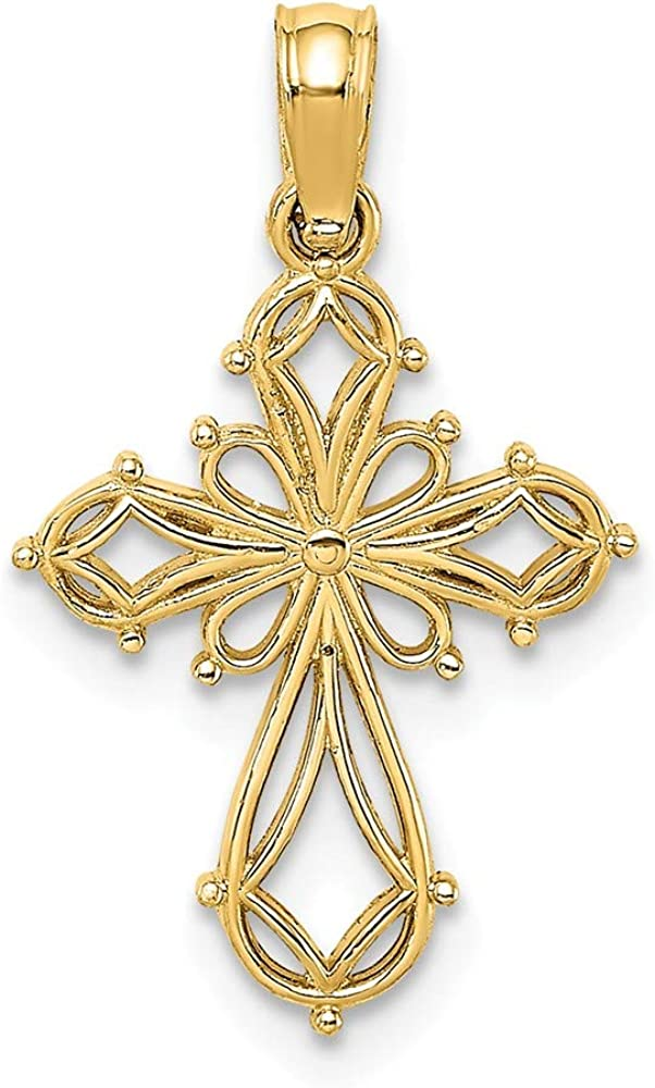 FB Jewels 14K Yellow Gold Fancy Cross Cut Out with Multi-Shapes Pendant