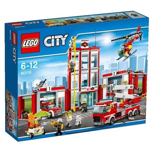 LEGO CITY – Estación de Bomberos, Juguete de Construcción, Incluye Camión, Helicóptero y Coche (60110)