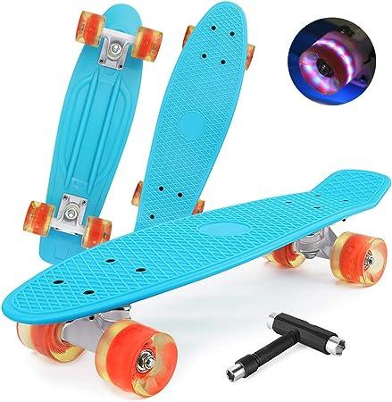 Morer Skateboard Penny Board pour enfants avec roues lumineuses LED 55,9 cm Cool Mini Skateboard complet standard pour d/ébutants filles gar/çons