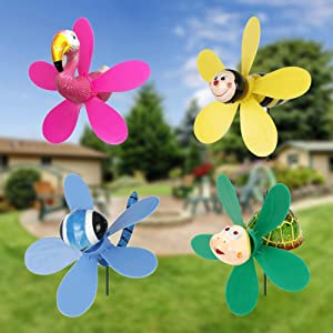 VASTOM Pinwheels for The Yard, 4pcs Animal and Nature Pinwheels, WhirlyGigs Lawn Ornaments, Outdoor Windmills for The Garden, Lawn Decor, Plastic Wind Spinner Decorations, Garden Art (Pack of 4)