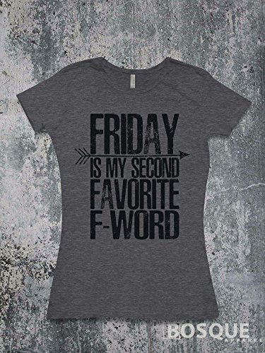 Friday My Second Favorite F Word T-Shirt / Humorous Funny T-shirt Top Tee Shirt Distressed Font style with BoHo Arrow design - Ink Printed