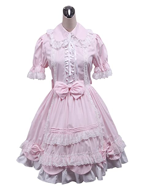 antaina Vestido de coser de lolita Victoriana retro con encaje de tul rosa y encaje dulce