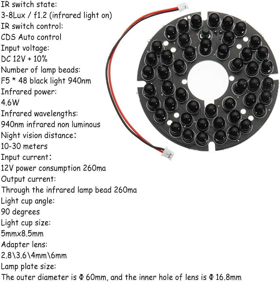 48 LED Illuminator IR Infrarot-Nachtsicht-Licht-Lampe fuer Sicherheit CCA2O1 1X