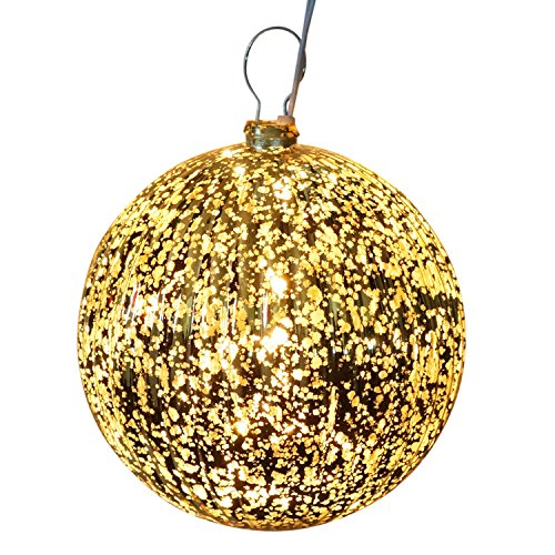 6 Inch Lighted Gold Ball Ornament Indoor Outdoor Decor - Prelit with 10 Mini Lights (Outdoor Tree Ornaments Balls)