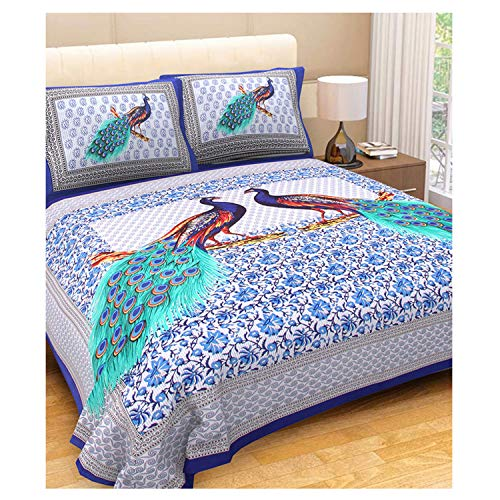 (E-Tailor King Size Pure Cotton Multi Color Bedspread Bed Sheet Bed Cover with 2 Pillow Covers Traditional Print (100x100) Inch)
