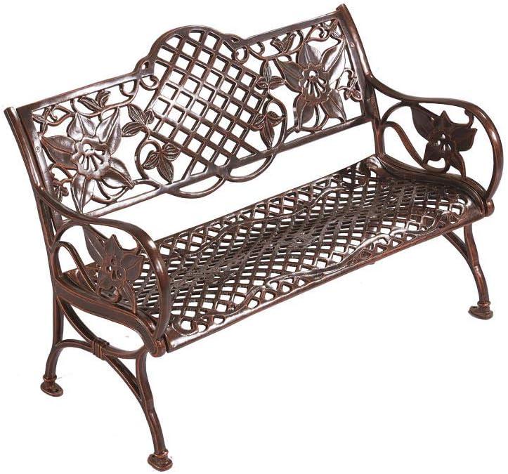 Caesar Furniture Outdoor Patio Cast Aluminum Bench Garden Backyard Solid with Huge Flower Pattern, Antique Copper (Bronze)