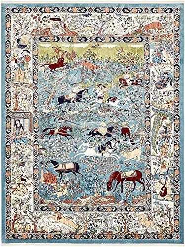 Unique Loom Nain Design Collection Blue 10 x 13 Area Rug (10' x 13') (Border Unique Blue)