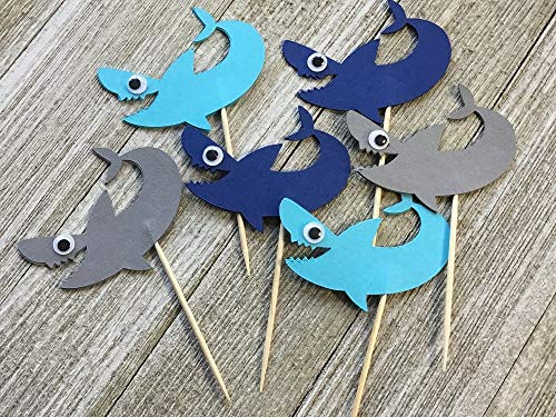 - Grey and Blue Shark Cupcake Toppers - Sharks with Eyes Food Picks - Party Picks - Appetizer Picks (Set of 12)