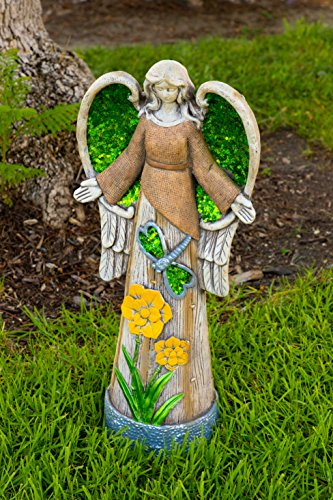 Mosaic Harvest (Alpine Angel Statue with Green Glitter Mosaic Wings, 24 Inch Tall)