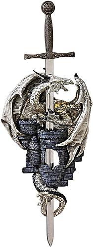 Design Toscano QS291244 Dragon of Stonebridge Castle Wall Sculpture,two tone stone