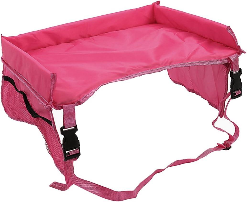 Milong Kids Travel Tray Car Seat Lap Tray Toddler Car Seat Tray Organizer for Children Rose red