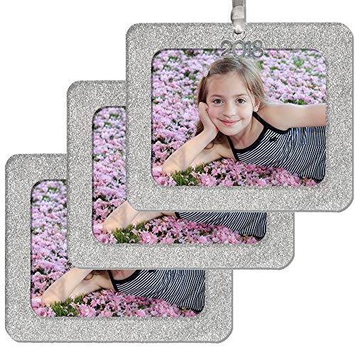 - 2018 Magnetic Glitter Christmas Photo Frame Ornament with Non Glare Photo Protector, Horizontal - Silver, 3-Pack