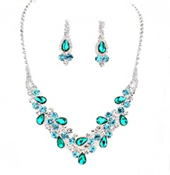 f64a0bb33 Elegant Chic Turquoise Emerald Clear Rhinestone V-Shaped Prom Bridesmaid  Silver Evening Necklace Earrings Set