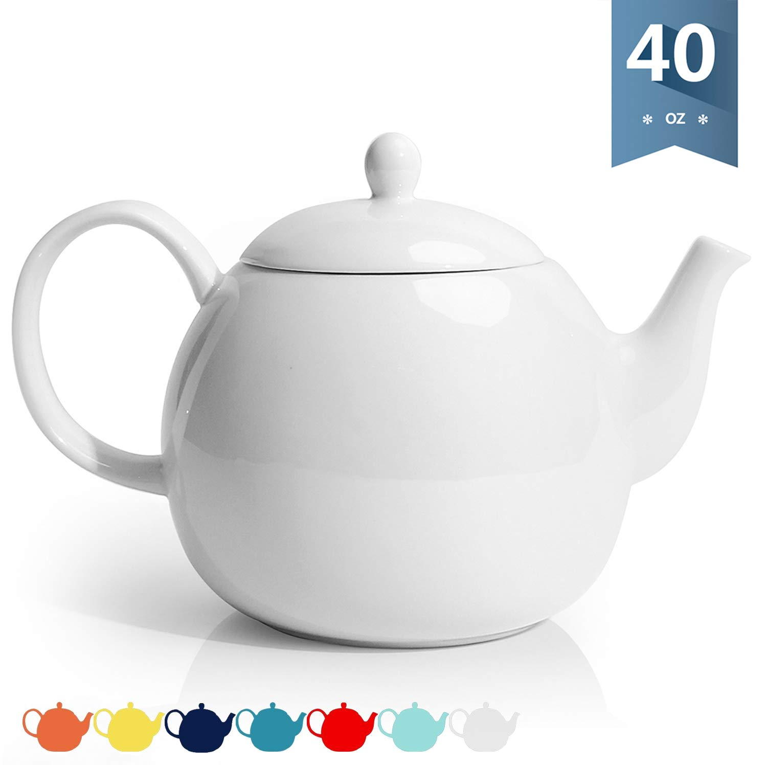 Sweese 220.101 Porcelain Teapot, 40 Ounce Tea Pot - Large Enough for 5 Cups, White by Sweese