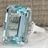 SOSUO Vintage Women 925 Silver Aquamarine Gemstone