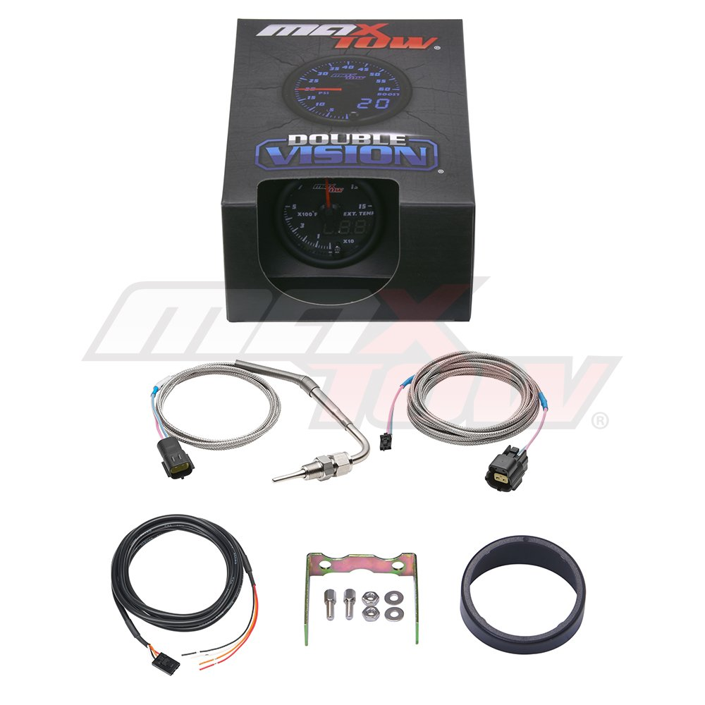 Black Gauge Face 2-1//16 52mm Analog /& Digital Readouts for Diesel Trucks Includes Type K Probe MaxTow Double Vision 1500 F Pyrometer Exhaust Gas Temperature EGT Gauge Kit Blue LED Dial