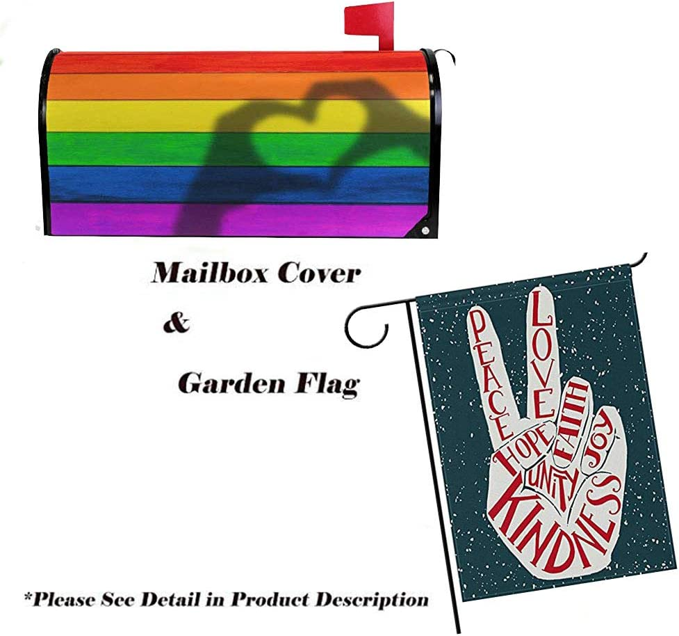 21 W X18 L,25.5 W X21 L QPKML Tie Dye Peace Sign Meets US Postal Requirements Magnetic Mailbox Cover