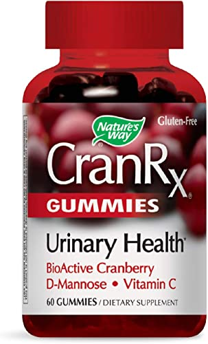 Nature's Way CranRx Gummy Urinary Health BioActive Cranberry D-Manonse Vitamin C, 60 Gummies