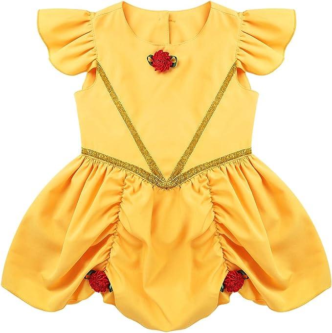 Agoky Disfraz de Princesa Bella y Bestia para Bebé Niña Vestido ...