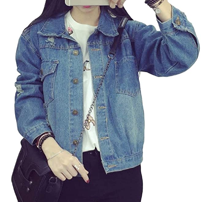 9ac01ff25da Sankt Women Trench Coat Destroyed Denim Outwear Distressed Jean Jacket XS