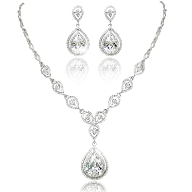 Amazon karmo teardrop pendant bridal necklace dangle earring karmo teardrop pendant bridal necklace dangle earring jewelry set clear cz crystal wedding aloadofball Image collections